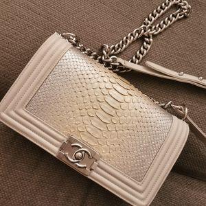 designer bag snake skin gray  Chanel style